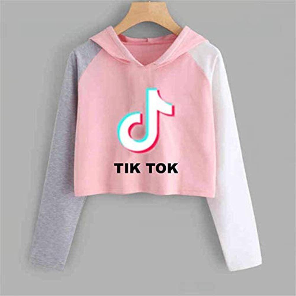 TikTok Hoodie Damen Kapuzenpullover Langarm T-shirt Sweatshirt Pullover Rosa Neu