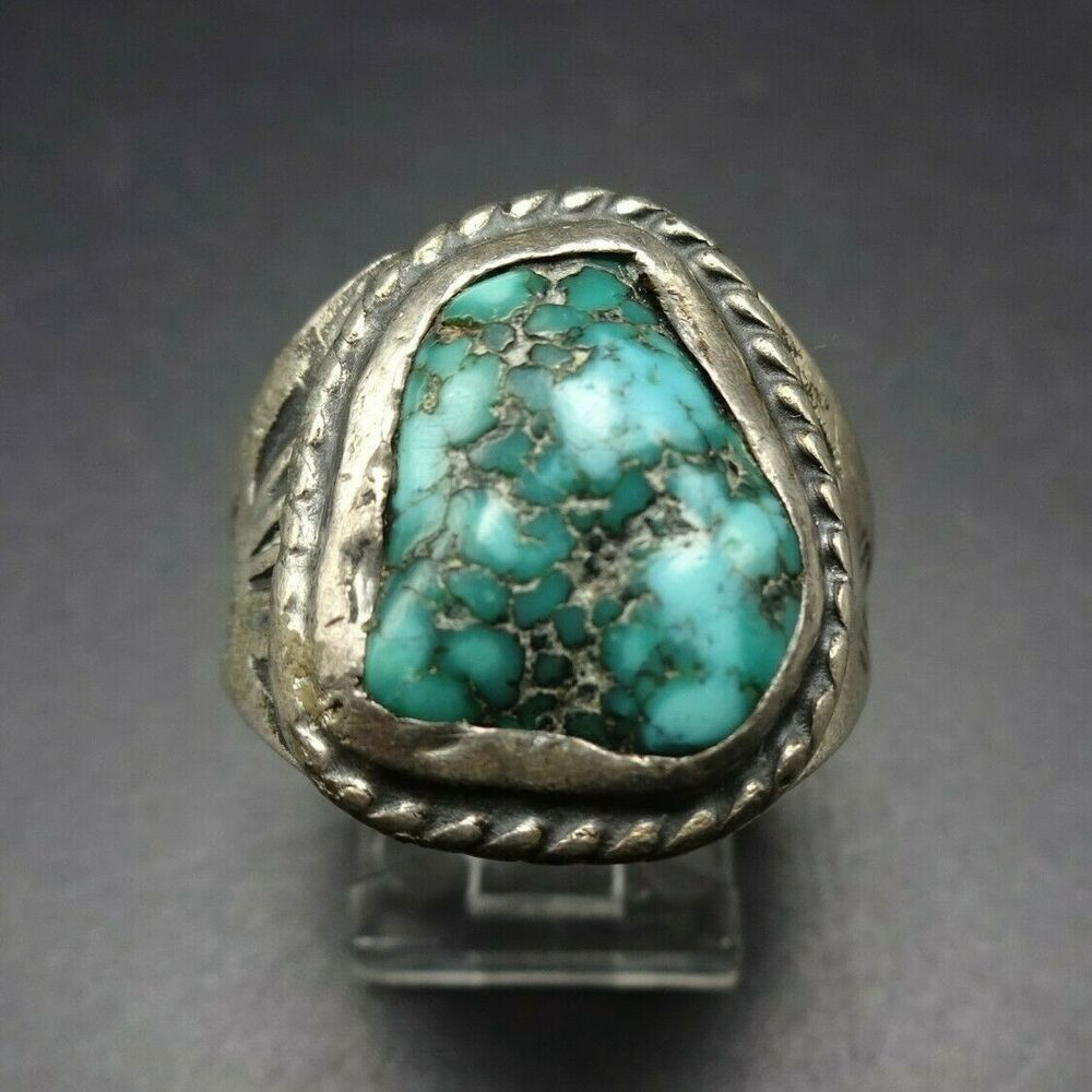 Native American Navajo Elgin Tom Turquoise Sterling Silver Ring Size 8