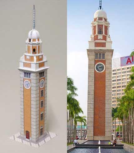 Torre del Reloj en Hong Kong Edificio libre de modelo de papel Descargar