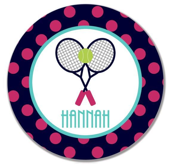 sc 1 st  Pinterest & personalized Melamine Plate - custom melamine dish polka dot tennis