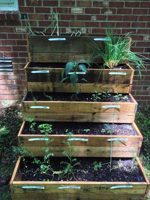 Pallet Herb Garden herb veggiegarden Pinterest