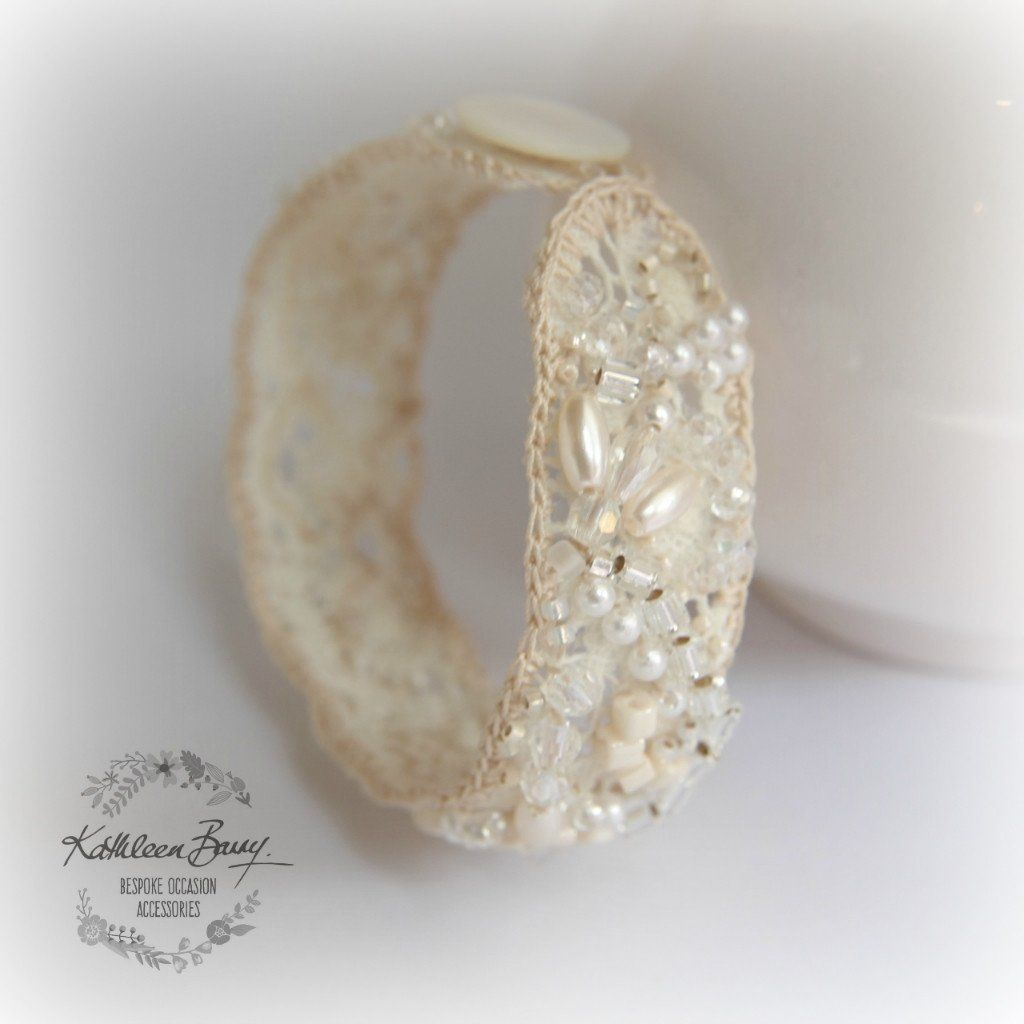 Vintage Lace Cuff Bracelet Pearl Crystal Embellished Wedding Ivory Cream