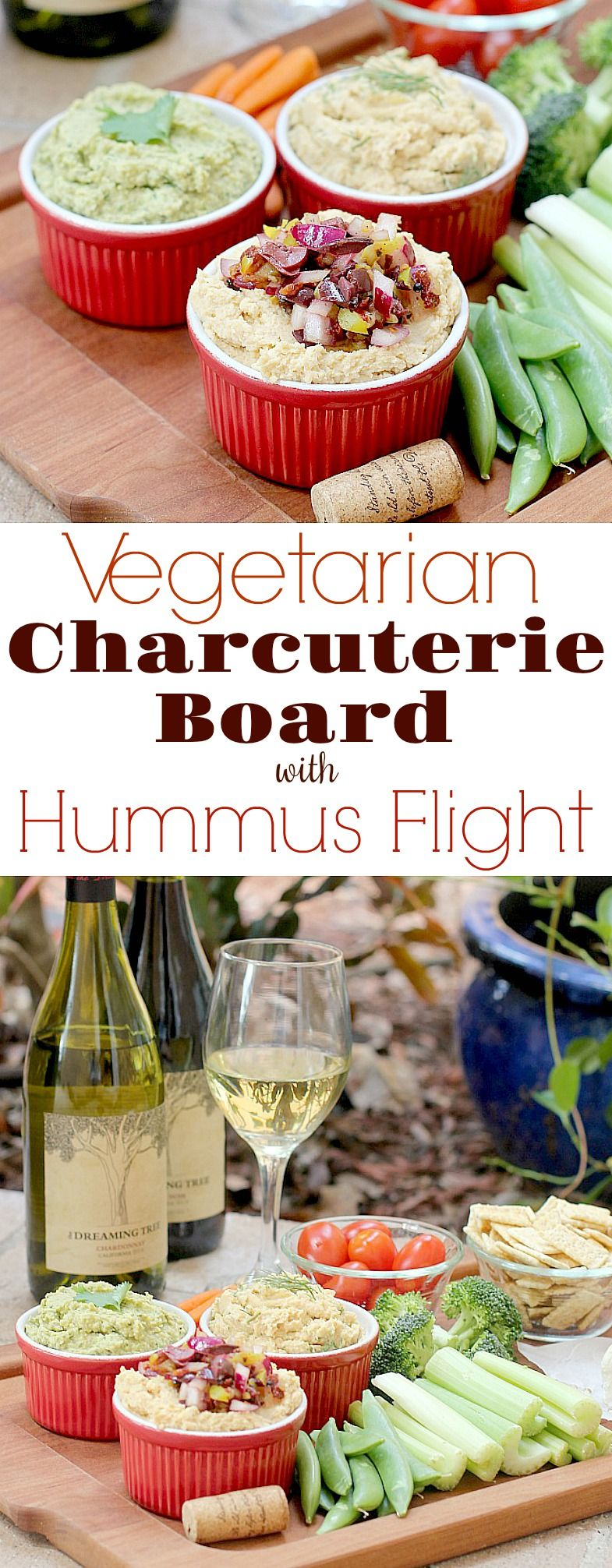 Vegetarian Charcuterie Board with Hummus Flight #charcuterieboard