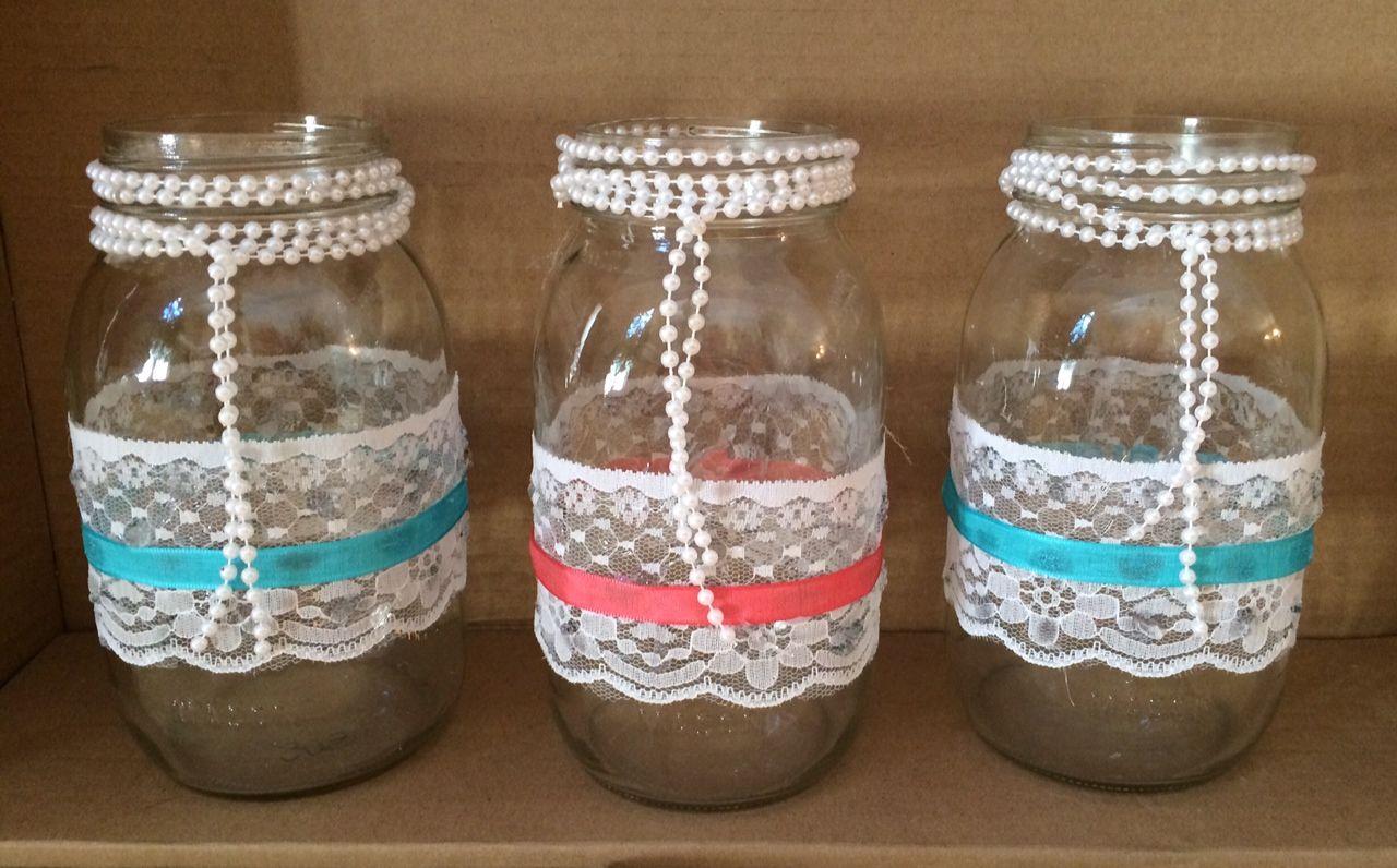 Decorated mason jars shabby chic home decor wedding for Mobilia wedding