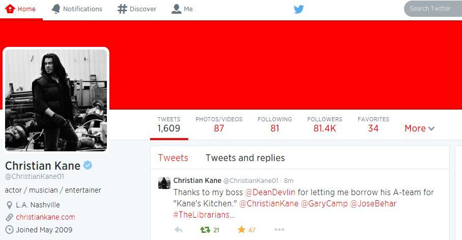 Christian Kane tweets from his @ChristianKane01  AUGUST 6  2014 ....... AUGUST