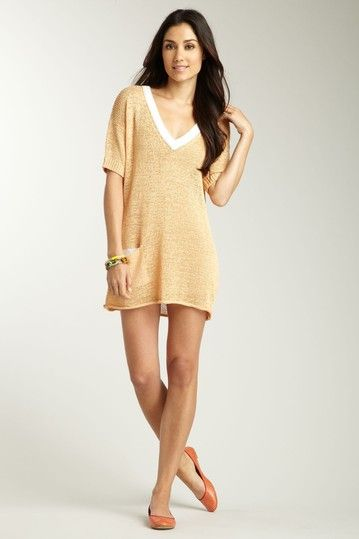 Little short as a dress for me, but would be cute as a cover-up or with short fitted white chino shorts underneath.