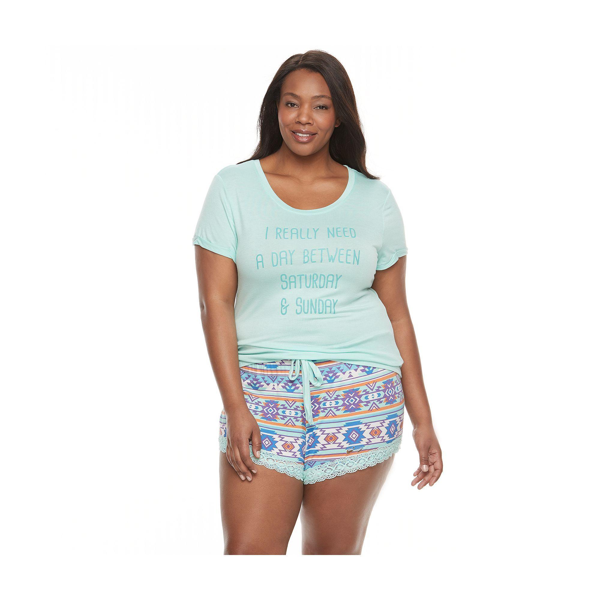 7236f8c69f Juniors  Plus Size Wallflower Pajamas  Tee   Shorts PJ Set