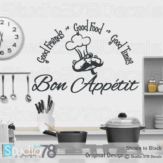 Bon Appetit Vinyl Wall Decal Kitchen Decor Good Food Good