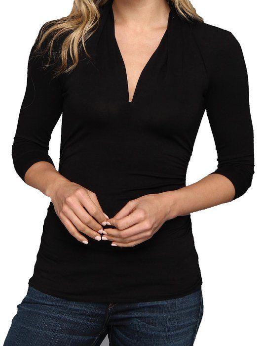 Lolichy Fashion Black 3/4 Sleeve Pleat V-neck Top for Women L