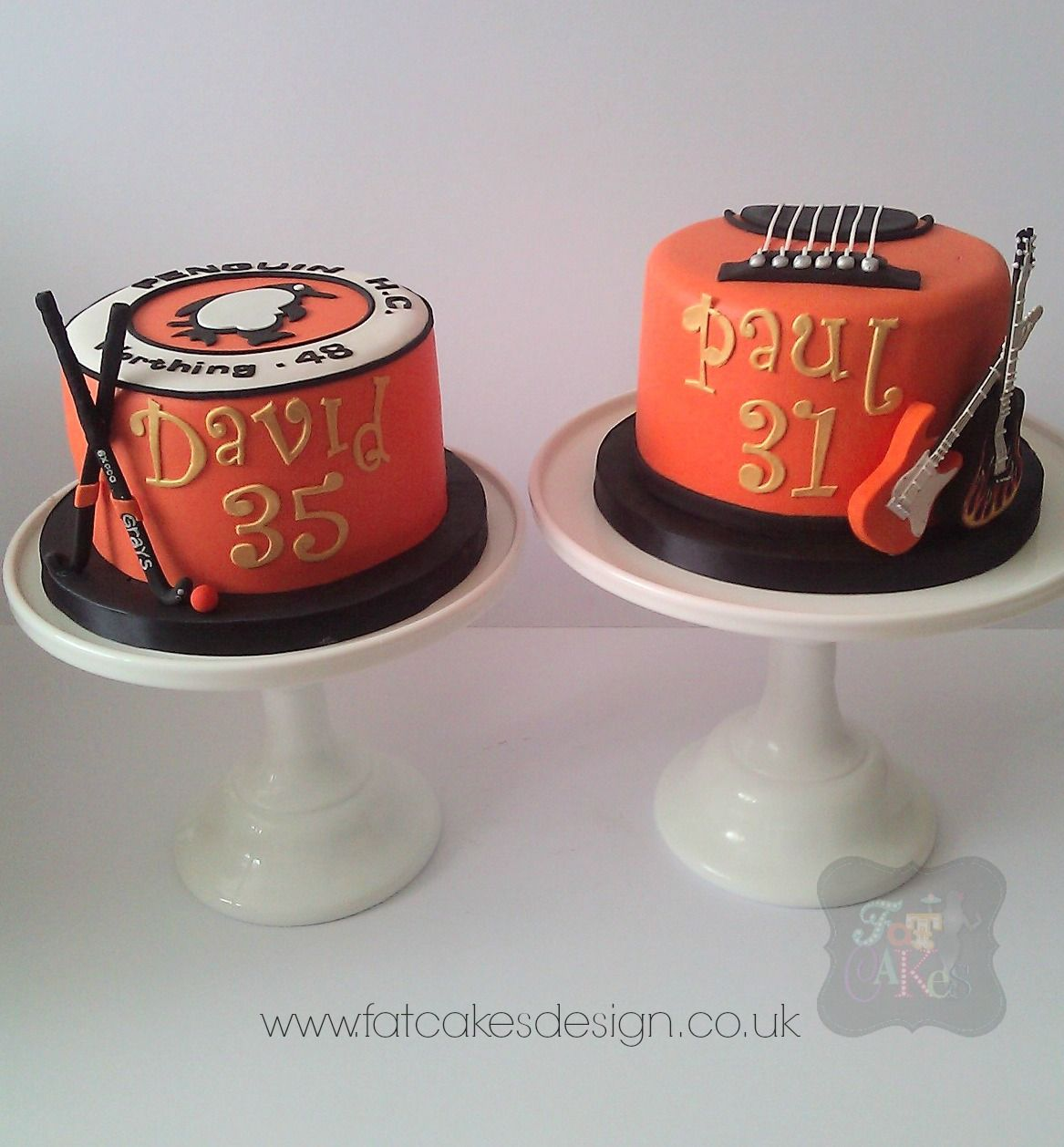 Matching birthday cakes for joint birthday celebration Orange cakes