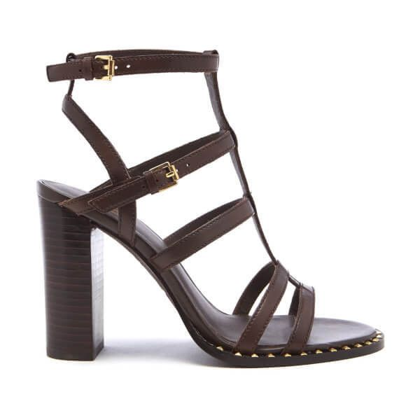 Ash Women's Amazing Bis Gladiator Heeled Sandals - T Moro (670 BRL) ❤ liked on Polyvore featuring shoes, sandals, brown, brown heeled sandals, high-heel gladiator sandals, gladiator heel sandals, leather gladiator sandals and brown high heel sandals
