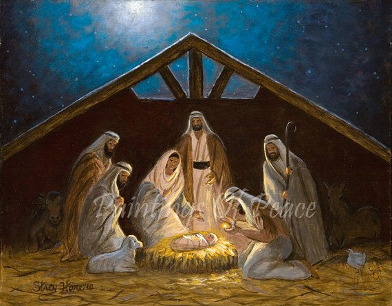 nativity painting nativity scene manger birth of jesus