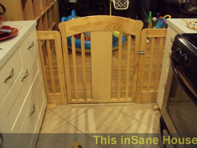 diy baby gate made from used crib kitchen view