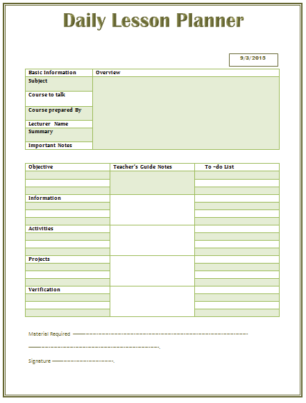 Daily Lesson Plan Template For Wordg 441581 Creating A