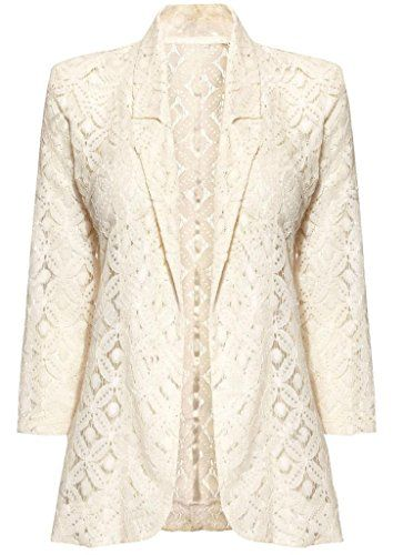 Cream Lace Blazer Jacket Summer Casual Party Top Beige Womens ...