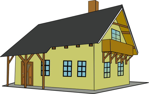 Clip Art House With Balcony And Sloping Roof House With Balcony Cartoon House House