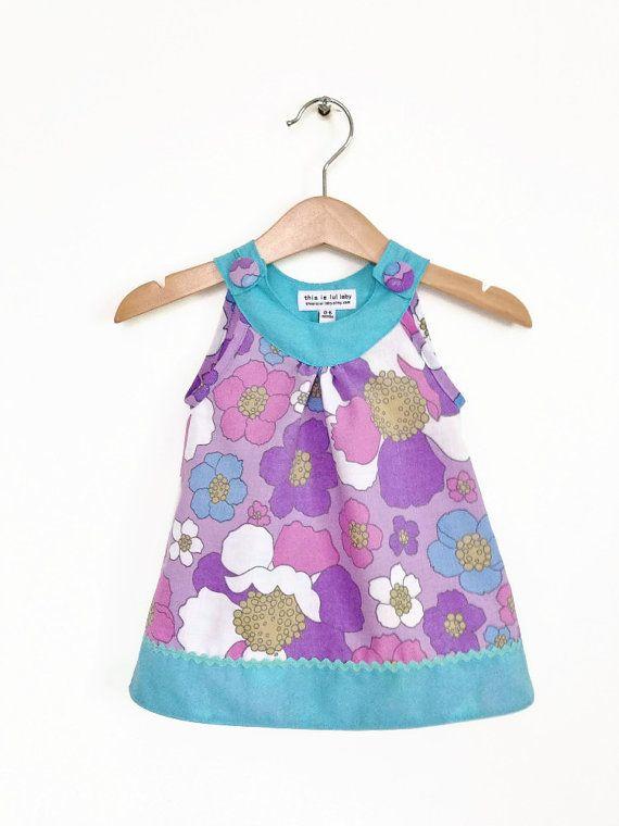 Newborn girl baby dress 0 to 6 months vintage purple