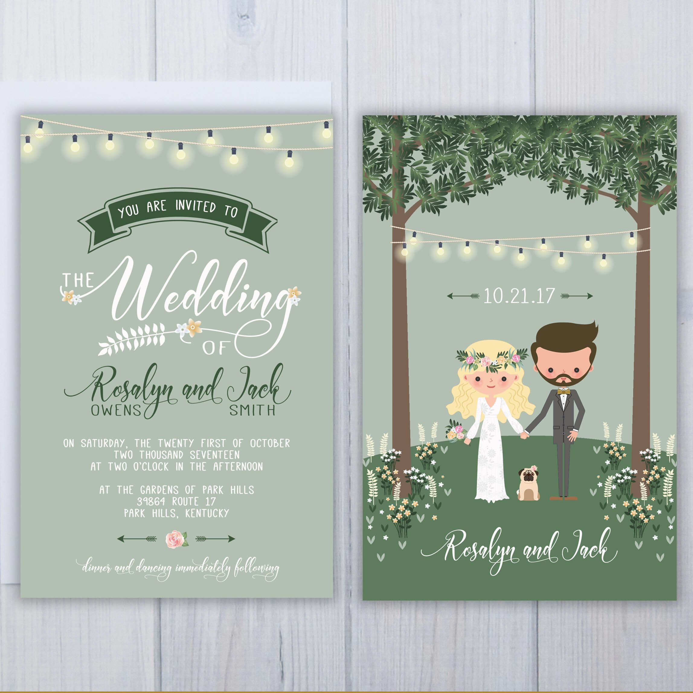 Pug Dog Wedding Invitations Green And Gold Invitation Set Boho Stationery