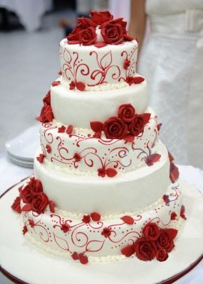 White wedding cake unique cakes flower black food pinterest red and white wedding cake from rentara events management junglespirit Image collections