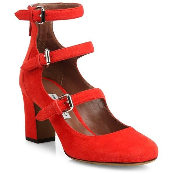cd416b66c528 Tabitha Simmons Ginger Triple-Strap Suede Mary Jane Pumps ( 435) ❤ liked on  Polyvore featuring shoes