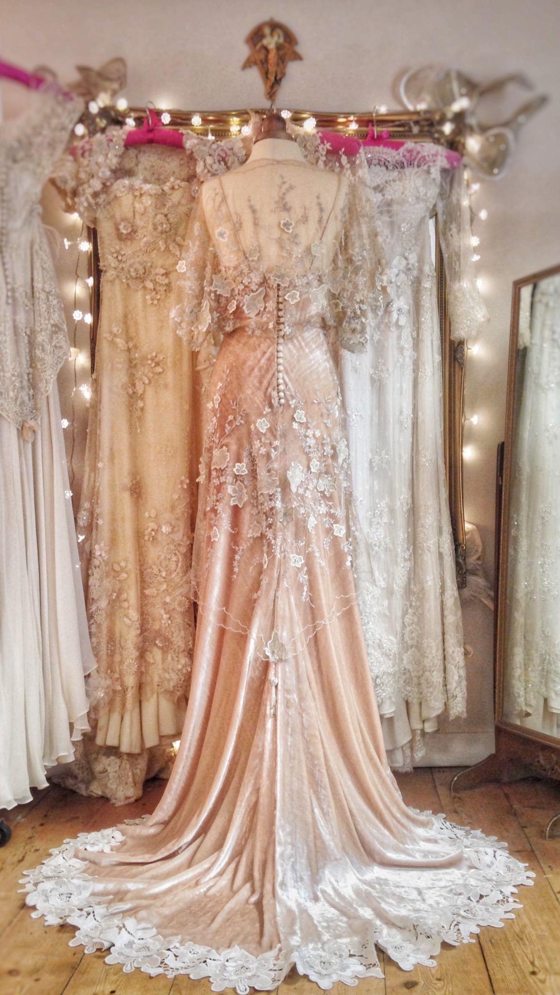 fe1dffb9696 Silk Velvet Wedding Dress in a Belle Epoque Inspired Style
