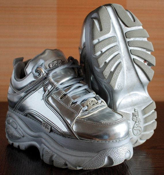c97d1b04ddf0 BUFFALO Platform SILVER Sneakers Rave Club by VintagePlatformDeal~~~ just  buy me this