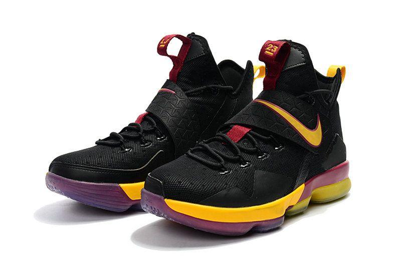 615d37bb8acd New Lebron James Shoes 2017 LeBron 14 XIV Black Cavs Burgundy Yellow ...