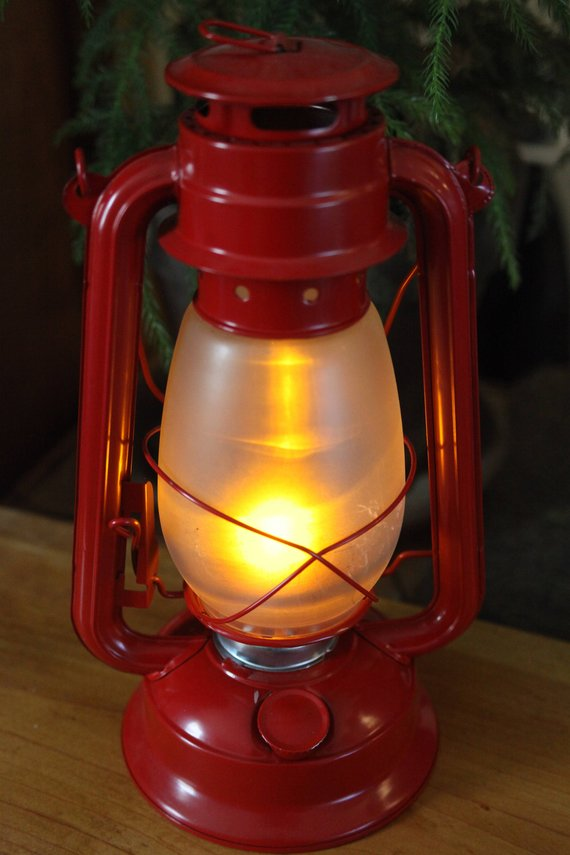 Battery Operated Led Lantern Table Lamp Red Hurricane Night Light Rustic