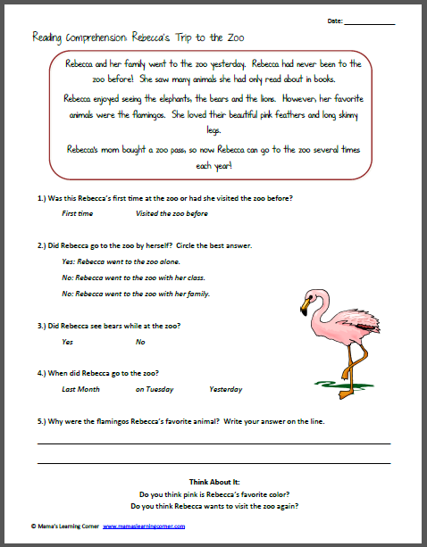 reading comprehension rebecca 39 s trip to the zoo reading comprehension worksheets and. Black Bedroom Furniture Sets. Home Design Ideas