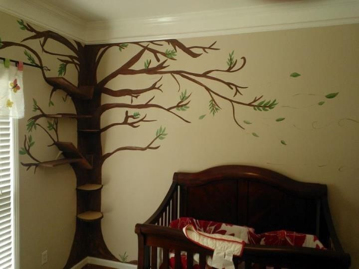 A Nursery Wall I Painted Then We Added Shelves To The Trunk Branches For Books And Such Tree Mural Nursery Nursery Mural Tree Mural