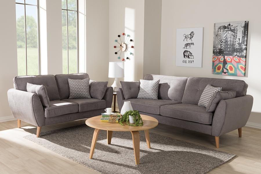 Baxton Studio Miranda Mid Century Modern Light Grey Fabric Upholstered 2 Piece Living Room Set In 2020 Living Room Sets Living Room Sofa Sofa Set #upholstered #living #room #sets
