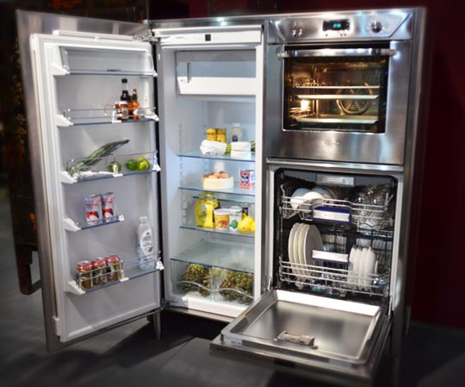 Combination Refrigerator, Dishwasher, & Oven Unit from