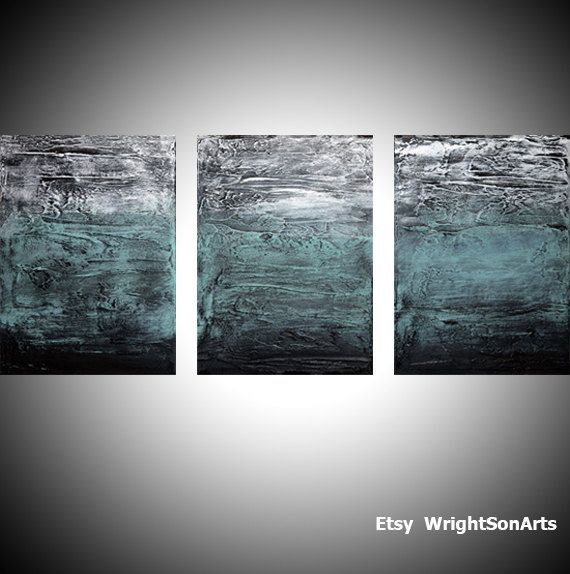 """3 Piece Purple Cherry Blossom Muti Panel Abstract Modern: Extra LARGE WALL ART Triptych 3 Panel Wall Art """"Turquoise"""