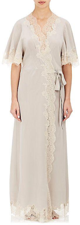 Carine Gilson Women's Lace-Trimmed Silk Wrap Robe