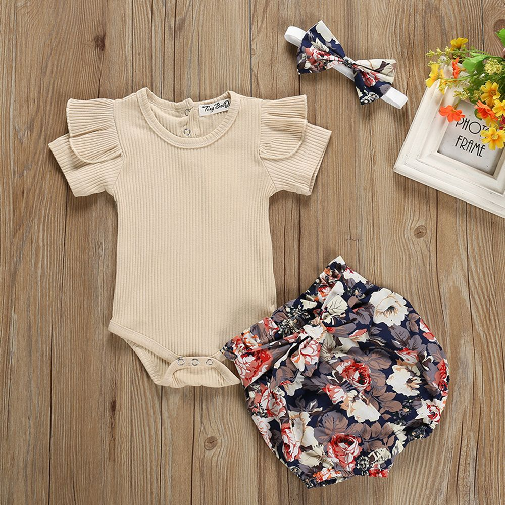 Toddler Infant Baby Girl 3pc Floral Romper Bodysuit headband Shoes Sets Clothes