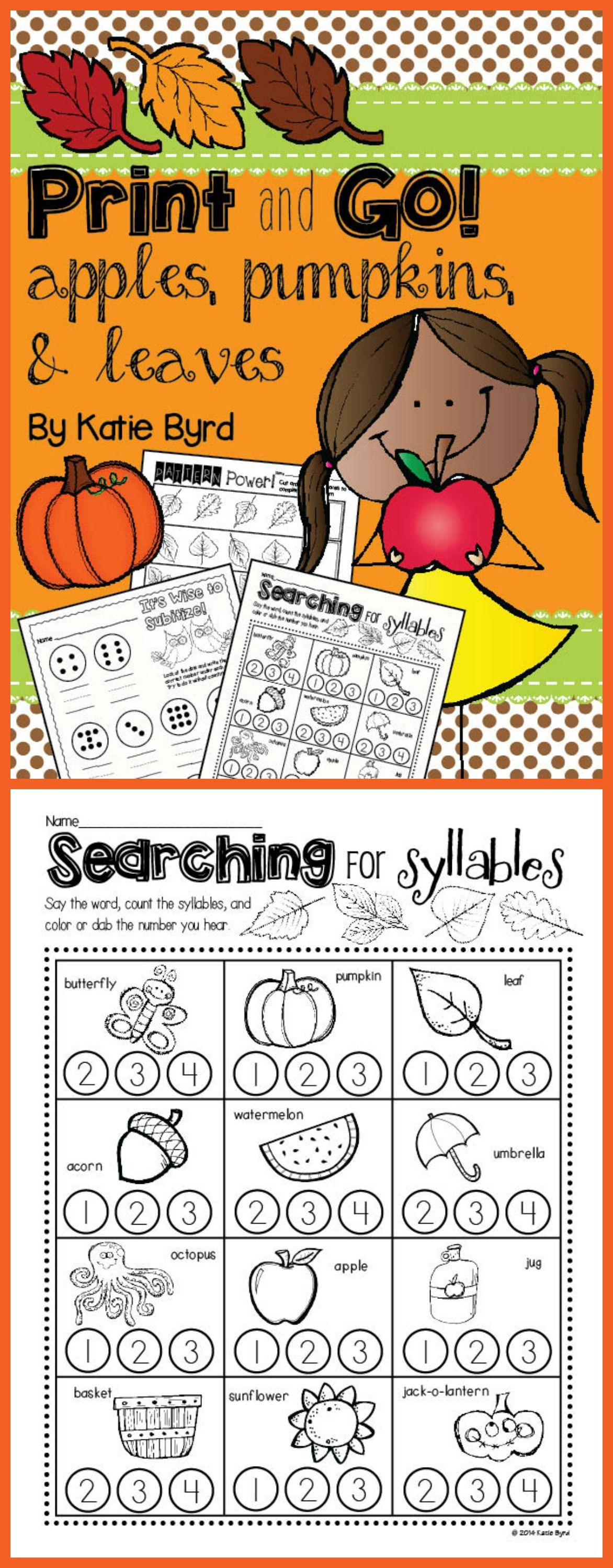 Print and Go! Apples, Pumpkins, & Leaves Fall Math and Literacy (NO ...