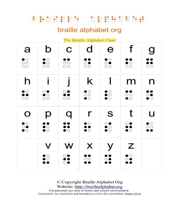 Printable Braille Alphabet Worksheet