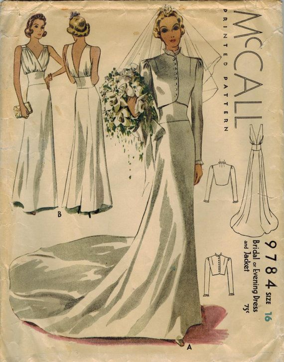 RESERVED 1930s McCall 9784 Vintage Sewing Pattern Misses Bridal or ...