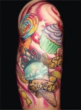 Candy Tattoo Designs Candy Tattoo Meanings And Ideas Candy Tattoo Gallery Cupcake Tattoos Candy Tattoo Sleeve Tattoos