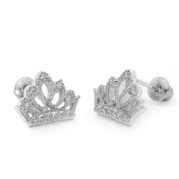 14k Gold Plated 925 Silver Baby Princess Crown Toddler Earrings By Lovearing