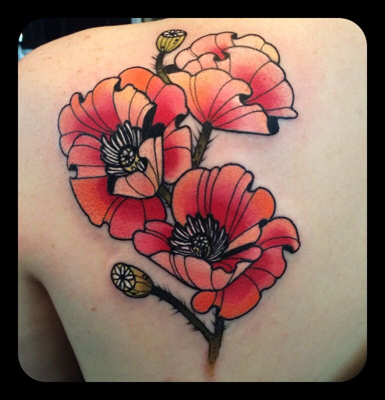 Poppy Flower Tattoo Meaning: Poppies Tattoo By Kari Grat (With Images)