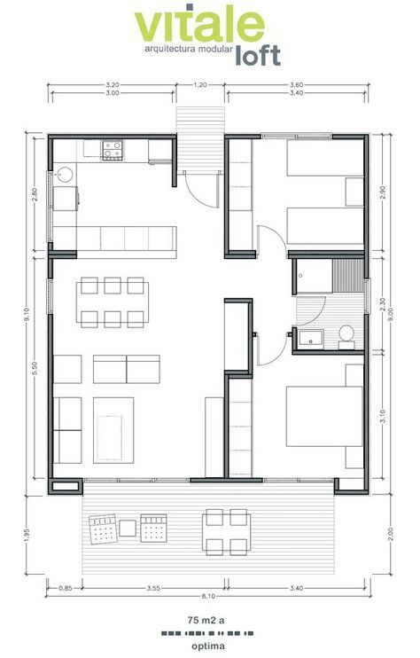 casas prefabricadas modulares de hormig n modelo optima 75 m2 casas pinterest grundrisse. Black Bedroom Furniture Sets. Home Design Ideas