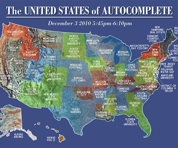 Cool US map made of Friday night Google autocompletes   Geography ...