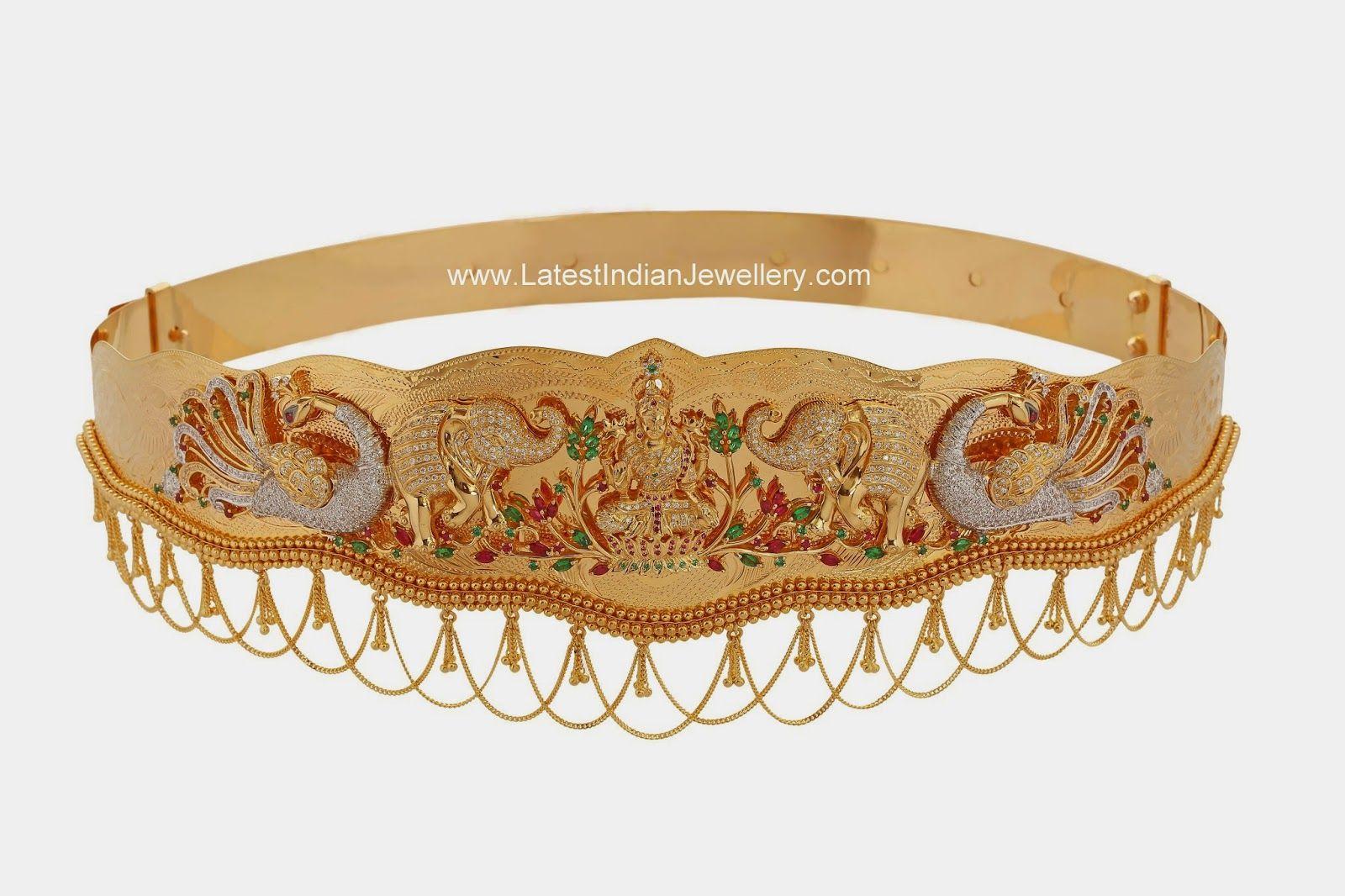 Swarovski Crystals Gold Vaddanam Waist Belts Jewelry