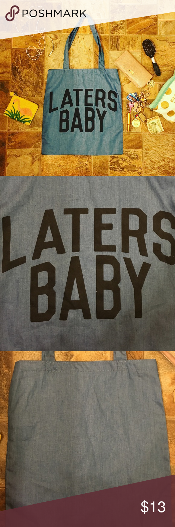 """50 Shades of Grey """"Laters Baby"""" Tote Bag Super cute powder navy blue tote bag emblazoned with """"LATERS BABY"""" à la 50 Shades of Grey. Brand new without tags, never used. 🚫NOT Brandy Melville🚫 Listed for visibility 😘 Brandy Melville Bags Shoulder Bags"""