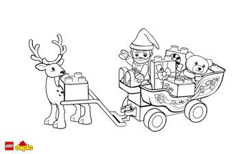 Lego Duplo Holiday Reindeer And Sleigh Coloring Page Christmas Cards Drawing Lego Christmas Christmas Coloring Pages