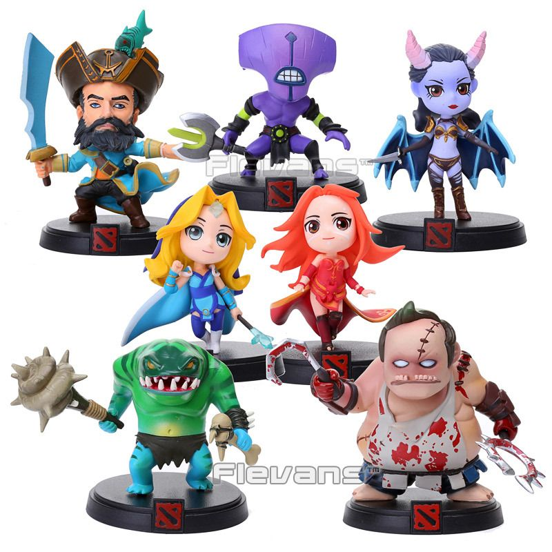 Game DOTA 2 Kunkka Lina Pudge Queen Tidehunter CM FV PVC Action Figures Collectible Toys 7pcs/lot LLFG036