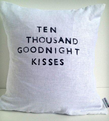 """Goodnight Kisses"" Linen Pillow"