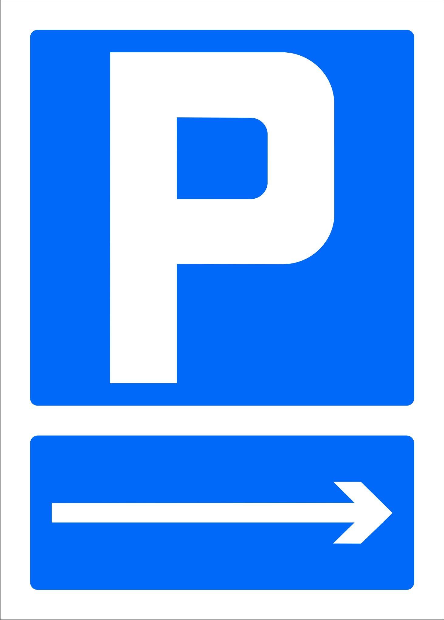 Senal Parking Con Flecha A La Derecha Parking Sobres De Papel