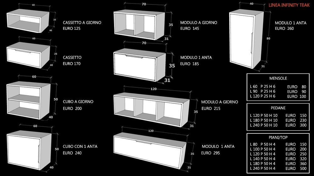 SOGGIORNO IN TEAK MASSELLO LINEA INFINITY TEAK MODULARE ...